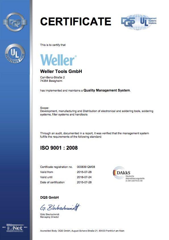 Сертификат Weller DIN ISO 9001:2008