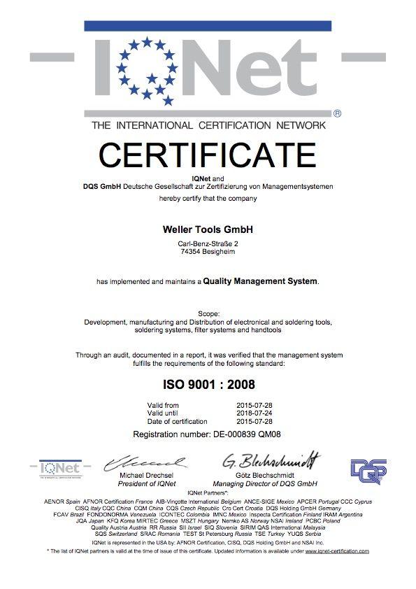 Сертификат Weller DIN IQNet